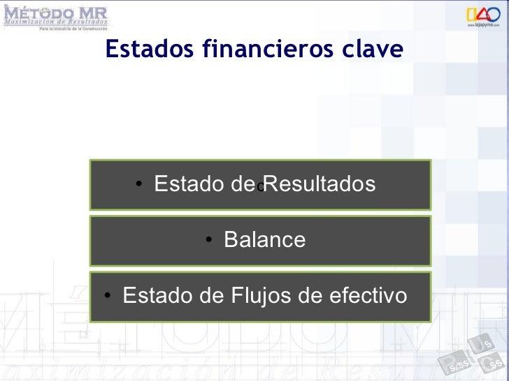 Estados financieros clave <ul><li>Estado de Resultados </li></ul>c <ul><li>Balance </li></ul><ul><li>Estado de Flujos de e...
