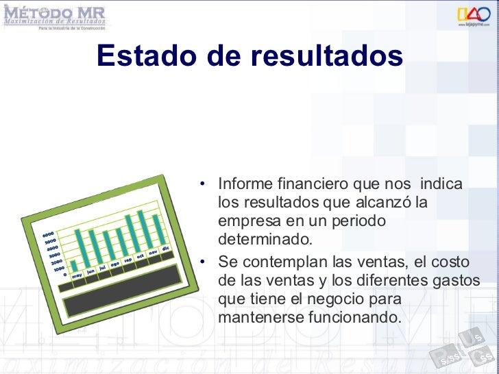 Estado de resultados <ul><li>Informe financiero que nos  indica los resultados que alcanzó la empresa en un periodo determ...