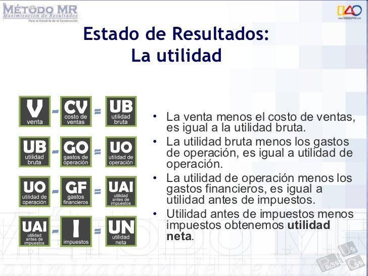 Estado de Resultados: La utilidad <ul><li>La venta menos el costo de ventas, es igual a la utilidad bruta. </li></ul><ul><...