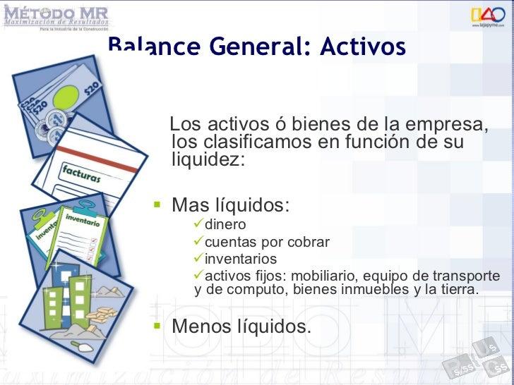 <ul><li>Los activos ó bienes de la empresa, los clasificamos en función de su liquidez: </li></ul><ul><li>Mas líquidos: </...