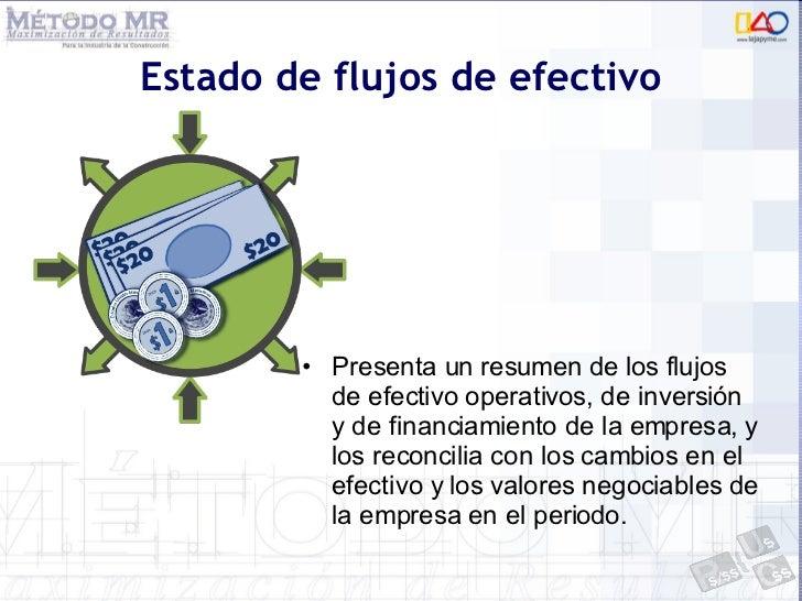 Estado de flujos de efectivo <ul><li>Presenta un resumen de los flujos de efectivo operativos, de inversión y de financiam...