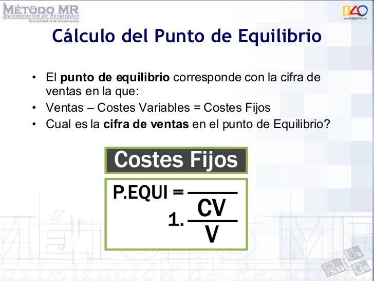 Cálculo del Punto de Equilibrio <ul><li>El  punto de equilibrio  corresponde con la cifra de ventas en la que: </li></ul><...