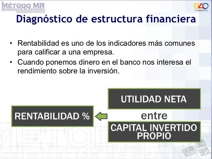Diagnóstico de estructura financiera <ul><li>Rentabilidad es uno de los indicadores más comunes para calificar a una empre...