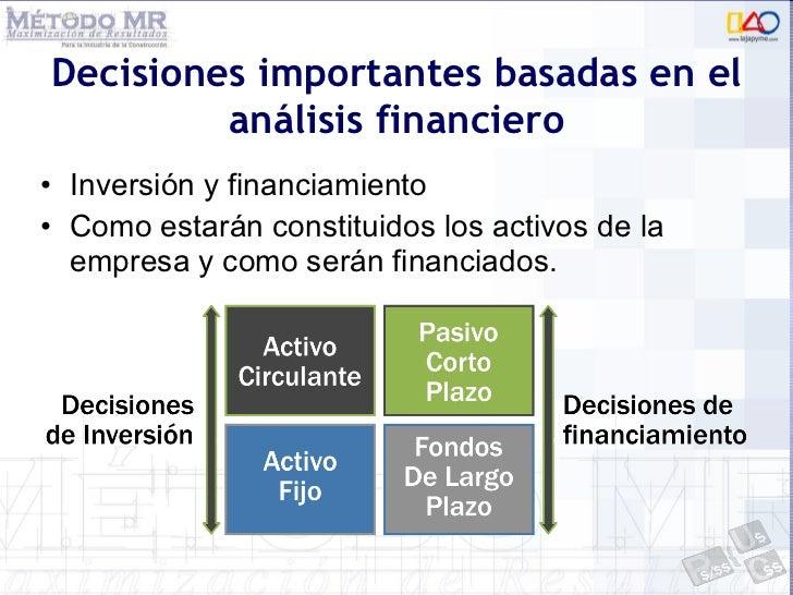 Decisiones importantes basadas en el análisis financiero <ul><li>Inversión y financiamiento </li></ul><ul><li>Como estarán...