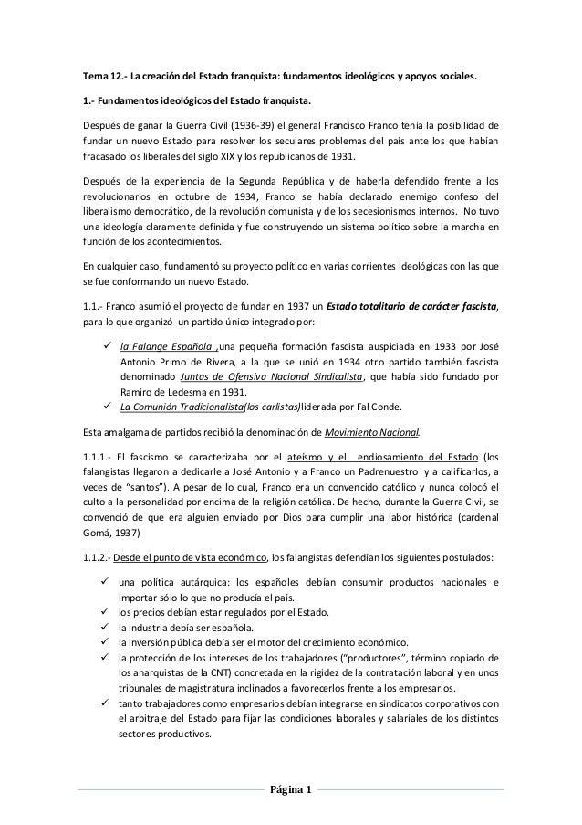 Página 1 Tema 12.- La creación del Estado franquista: fundamentos ideológicos y apoyos sociales. 1.- Fundamentos ideológic...