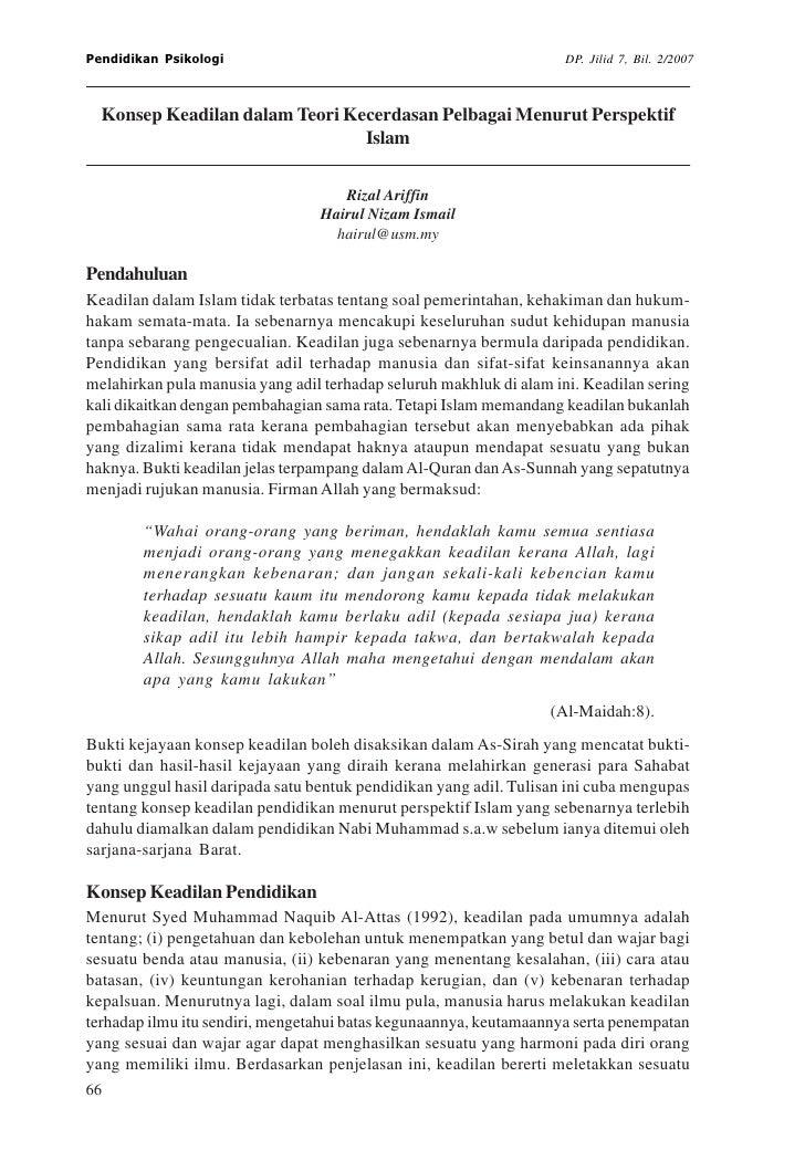 Pendidikan Psikologi                                                 DP. Jilid 7, Bil. 2/2007  Konsep Keadilan dalam Teori...