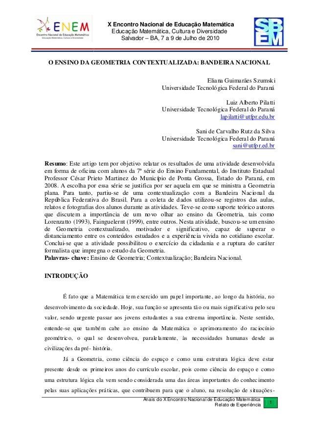 X Encontro Nacional de Educação Matemática  Educação Matemática, Cultura e Diversidade  Salvador – BA, 7 a 9 de Julho de 2...