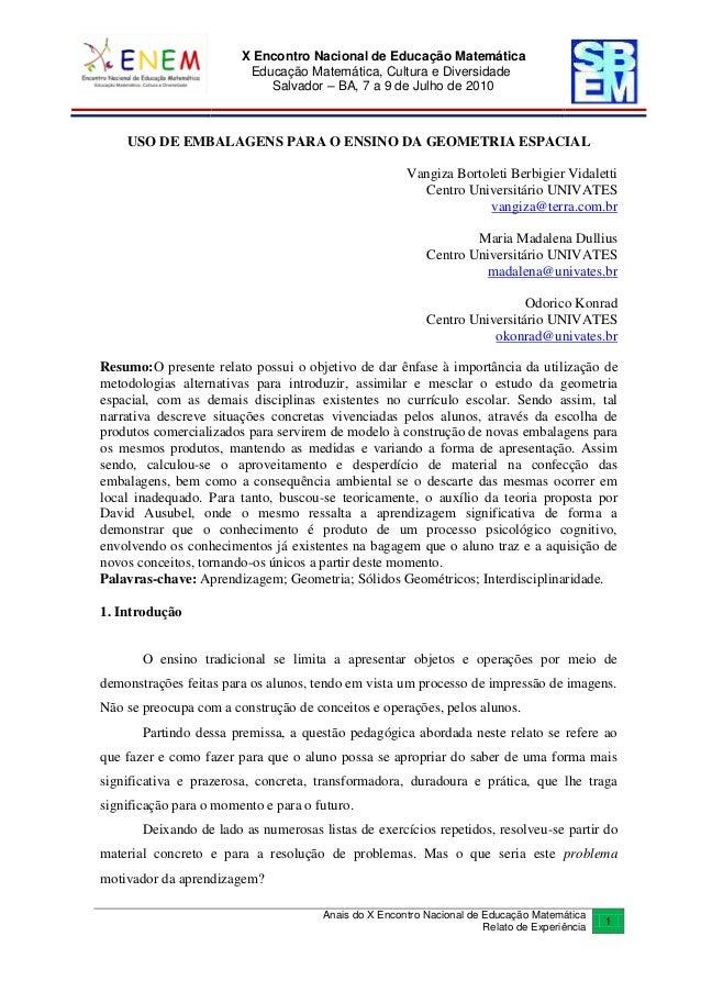 X Encontro Nacional de Educação Matemática Educação Matemática, Cultura e Diversidade Salvador – BA, 7 a 9 de Julho de 201...