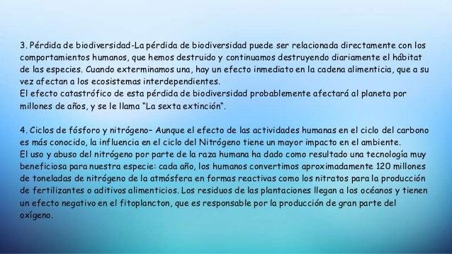 3. Pérdida de biodiversidad-La pérdida de biodiversidad puede ser relacionada directamente con los comportamientos humanos...