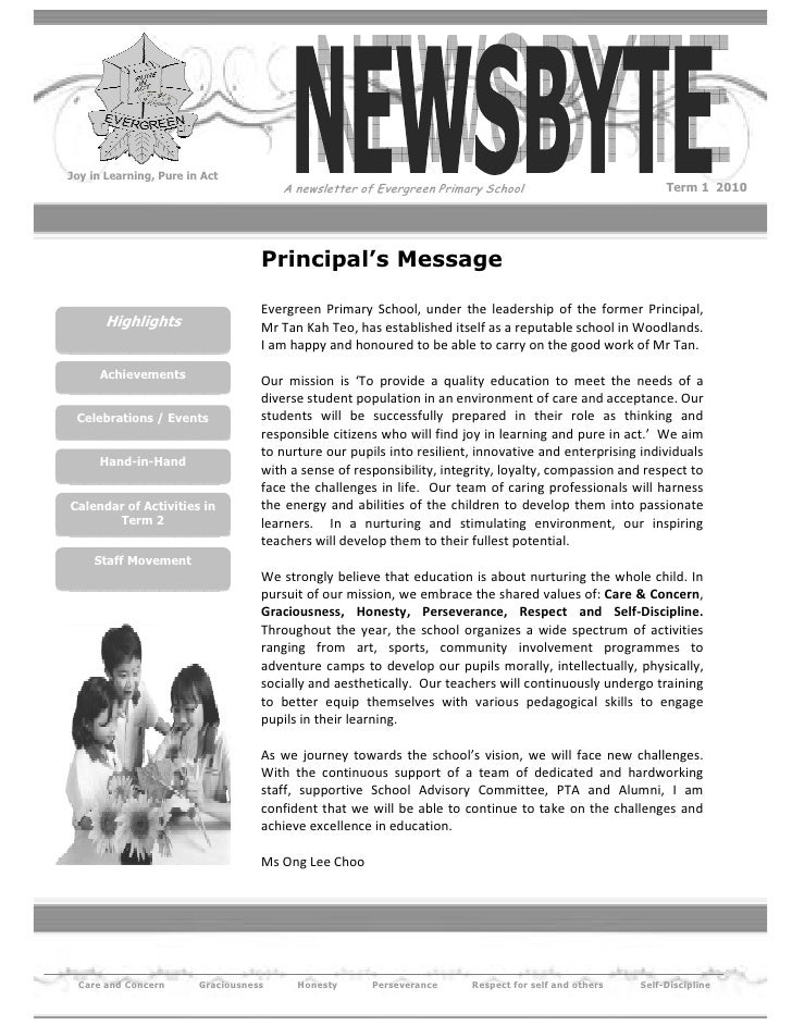 Joy in Learning, Pure in Act                                        A newsletter of Evergreen Primary School              ...