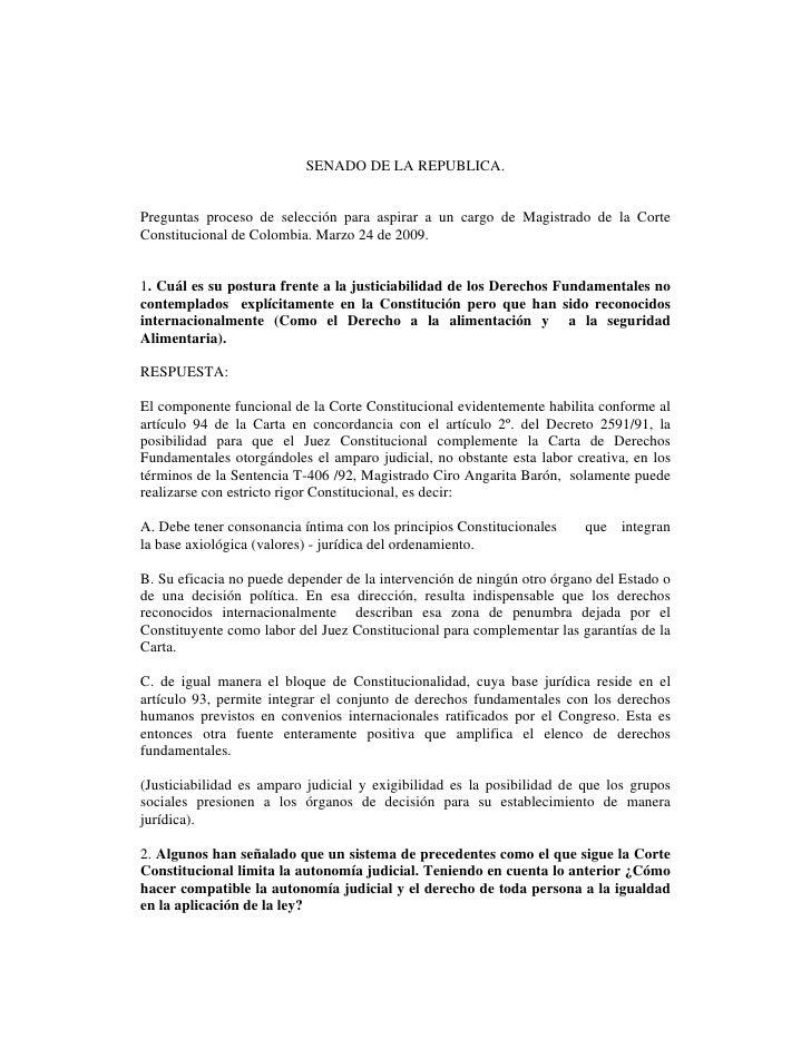 SENADO DE LA REPUBLICA.   Preguntas proceso de selección para aspirar a un cargo de Magistrado de la Corte Constitucional ...