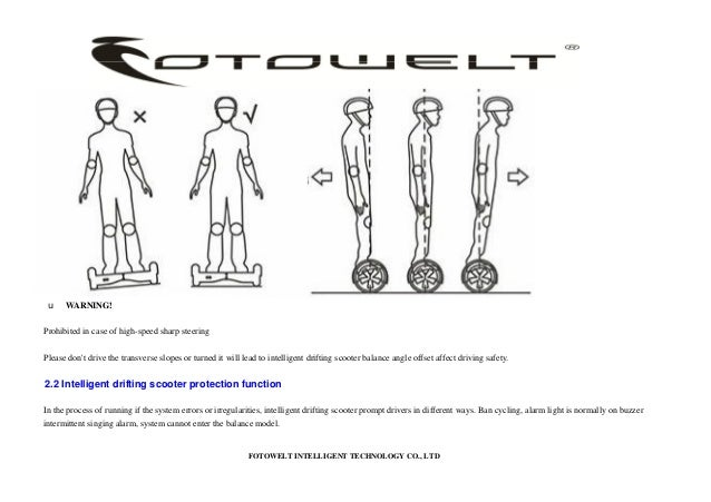 Fotowelt T series Self-Balancing Scooter user manual