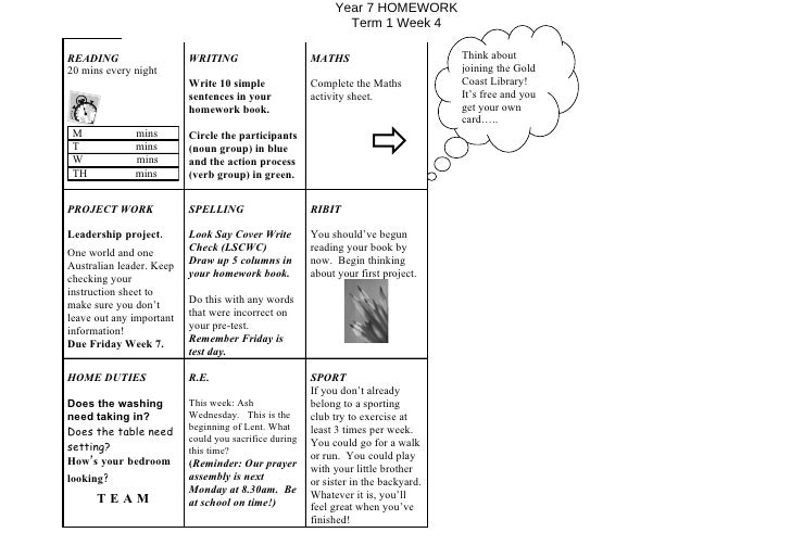 Year 7 HOMEWORK                                                               Term 1 Week 4  READING                   WRI...