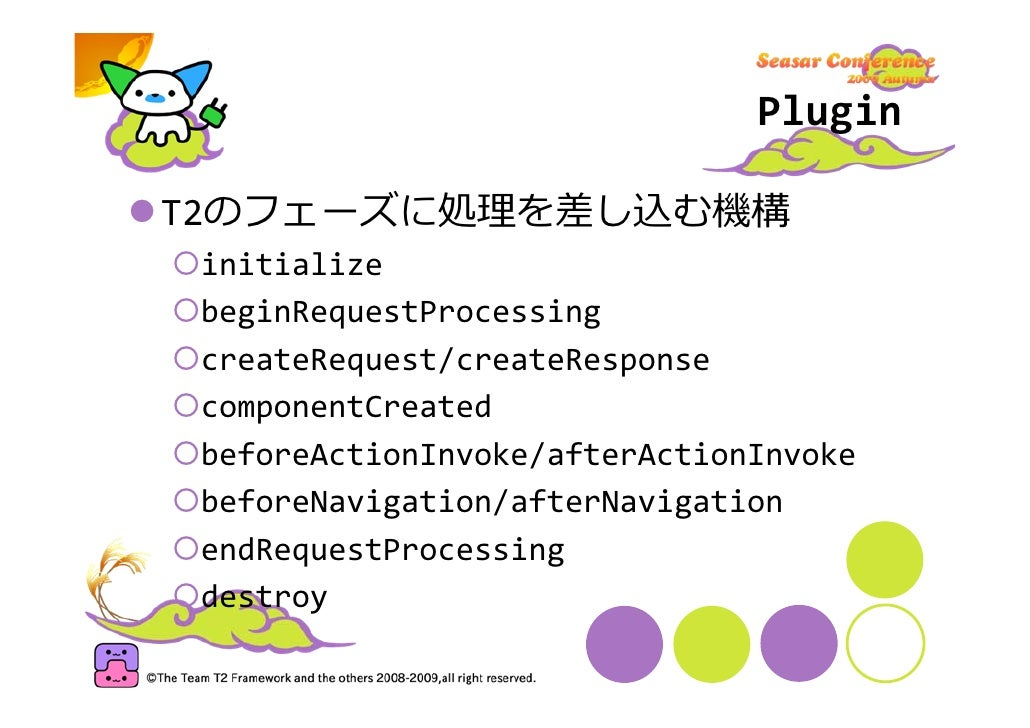 Plugin  T2のフェーズに処理を差し込む機構  initialize  beginRequestProcessing  createRequest/createResponse  componentCreated  beforeActio...
