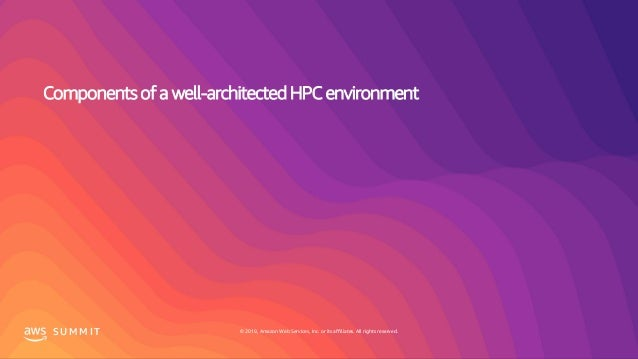 © 2019, Amazon Web Services, Inc. or its affiliates. All rights reserved.S U M M I T Components of a well-architected HPC ...