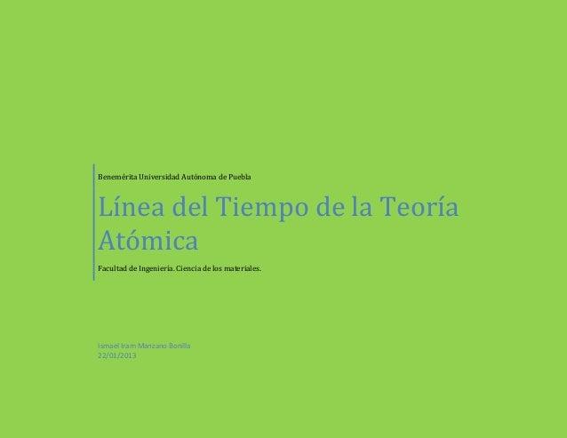 Benemérita Universidad Autónoma de PueblaLínea del Tiempo de la TeoríaAtómicaFacultad de Ingeniería. Ciencia de los materi...