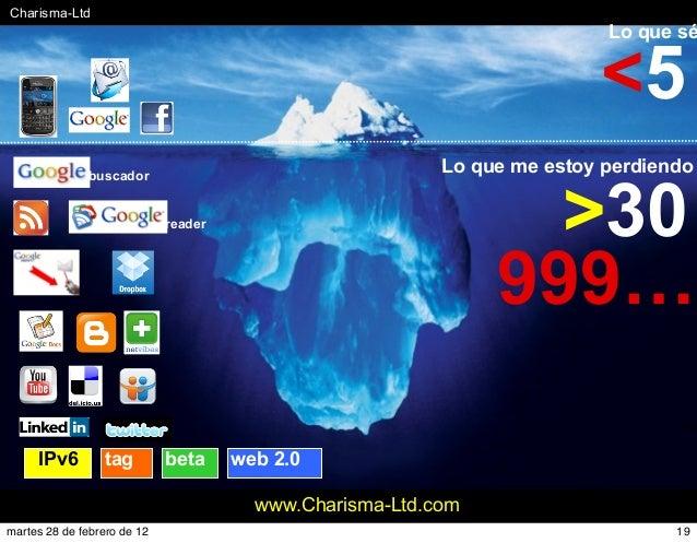 #Charisma-Ltd www.Charisma-Ltd.com Lo que sé Lo que me estoy perdiendo >30 <5 999… reader buscador tag beta web 2.0IPv6 19...