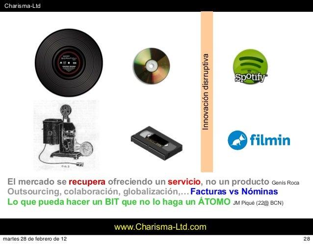#Charisma-Ltd www.Charisma-Ltd.com Innovacióndisrruptiva El mercado se recupera ofreciendo un servicio, no un producto Gen...
