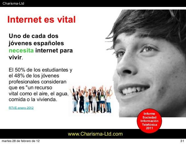 #Charisma-Ltd www.Charisma-Ltd.com Uno de cada dos jóvenes españoles necesita internet para vivir. El 50% de los estudiant...