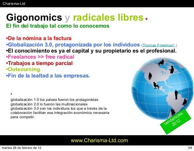 #Charisma-Ltd www.Charisma-Ltd.com Gigonomics y radicales libres+ El fin del trabajo tal como lo conocemos •De la nómina a...