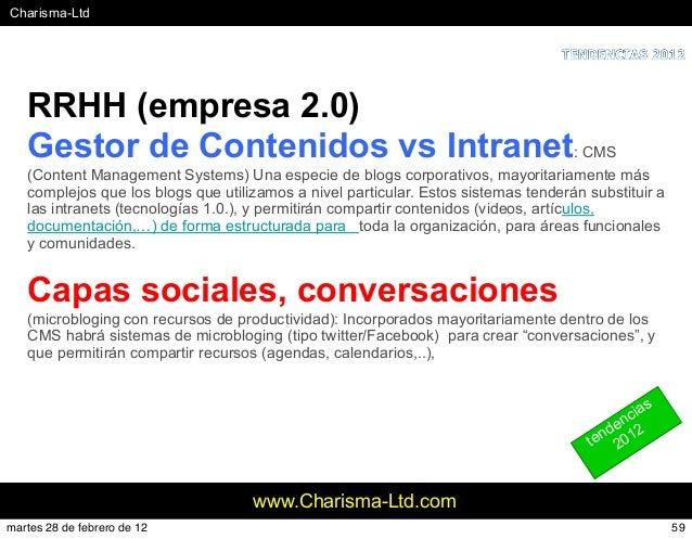 #Charisma-Ltd www.Charisma-Ltd.com RRHH (empresa 2.0) Gestor de Contenidos vs Intranet: CMS (Content Management Systems) U...