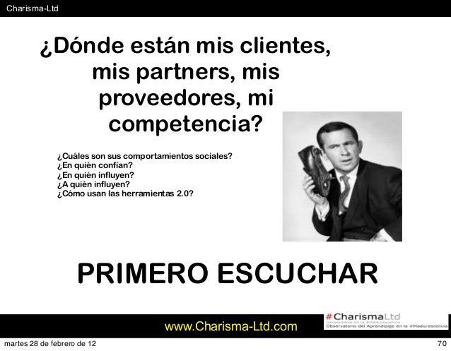 #Charisma-Ltd www.Charisma-Ltd.com 70 ¿Dónde están mis clientes, mis partners, mis proveedores, mi competencia? ¿Cuáles so...