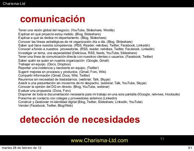#Charisma-Ltd www.Charisma-Ltd.com 91 Tener una visión global del negocio. (YouTube, Slideshare, Wordle) Explicar en qué p...