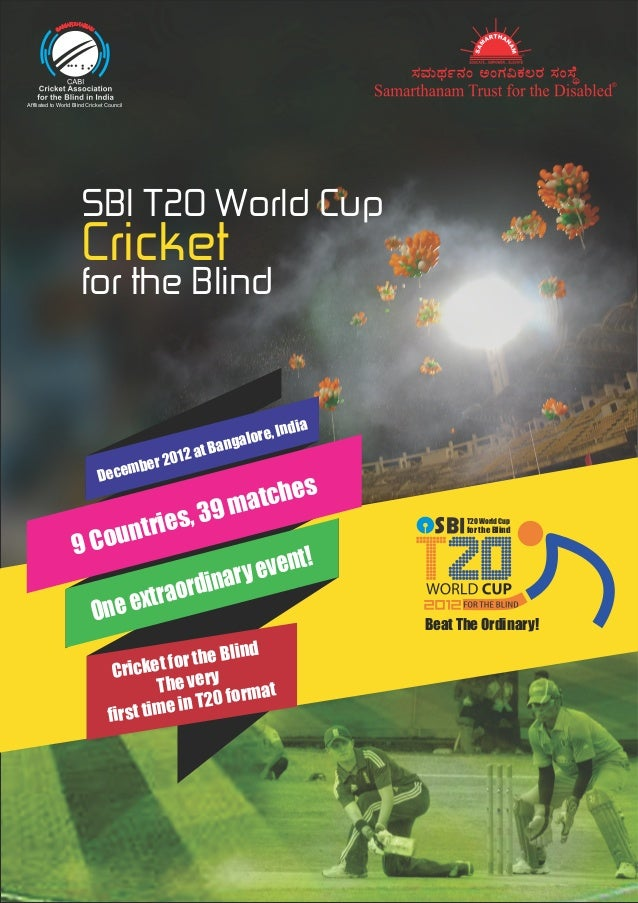 Affiliated to World Blind Cricket Council                      SBI T20 World Cup                      Cricket             ...