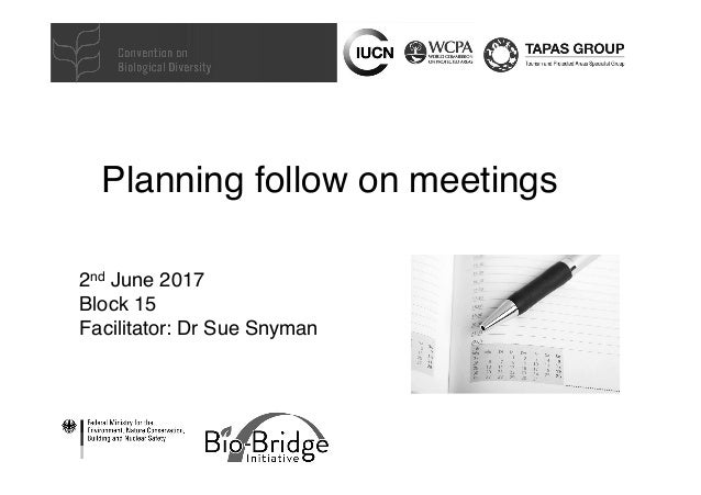 Planning follow on meetings 2nd June 2017 Block 15 Facilitator: Dr Sue Snyman