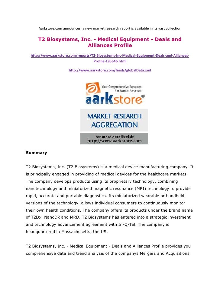 Aarkstore.com announces, a new market research report is available in its vast collection      T2 Biosystems, Inc. - Medic...