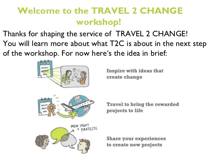 Thanks for shaping the service of  TRAVEL 2 CHANGE! You will learn more about what T2C is about in the next step of the wo...
