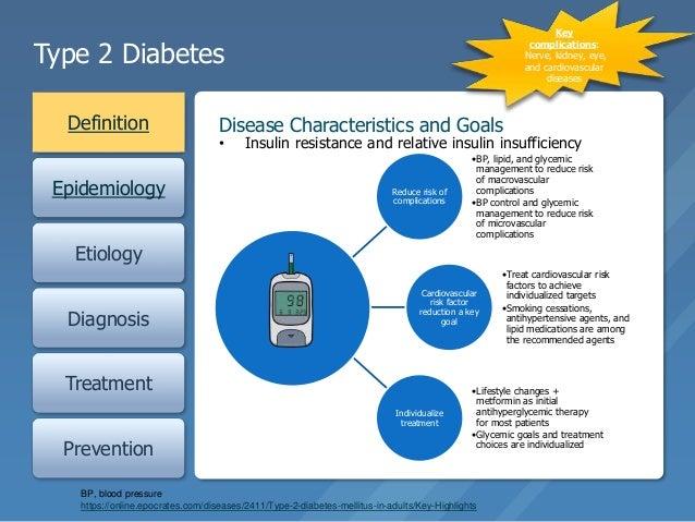 Type 2 Diabetes Definition Epidemiology Etiology Diagnosis Treatment Prevention Disease Characteristics and Goals Reduce r...