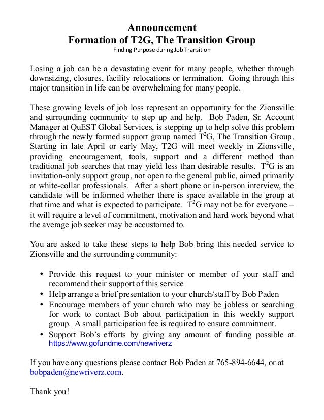 Announcement Formation of T2G, The Transition Group Finding  Purpose  during  Job  Transition   Losing a job can...