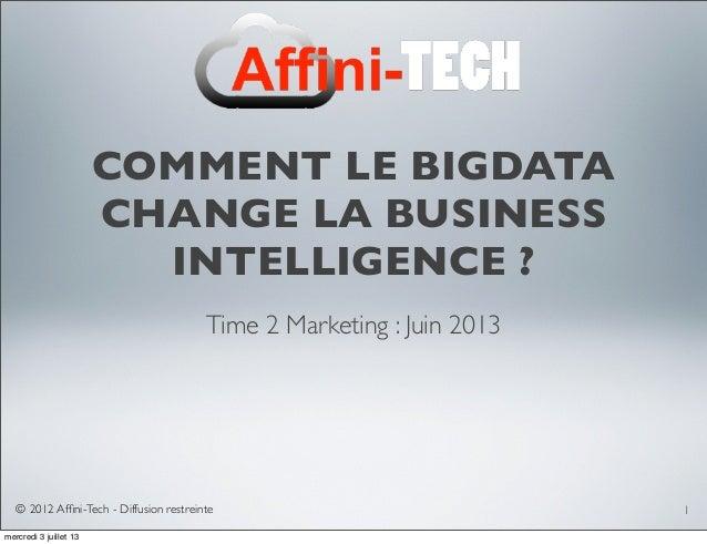 © 2012 Affini-Tech - Diffusion restreinte COMMENT LE BIGDATA CHANGE LA BUSINESS INTELLIGENCE ? Time 2 Marketing : Juin 2013...