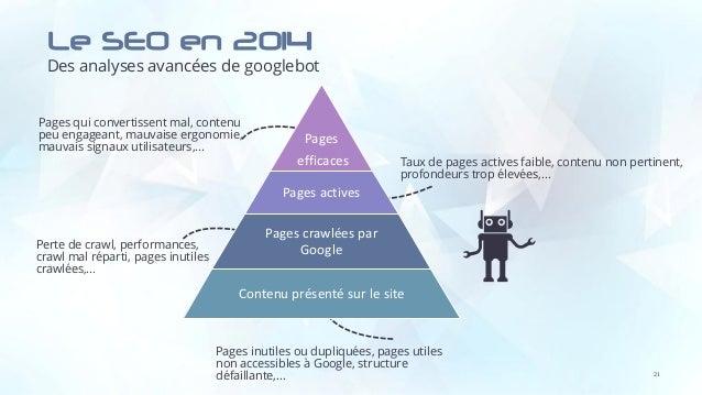 Le SEO en 2014 Des analyses avancées de googlebot Pages qui convertissent mal, contenu peu engageant, mauvaise ergonomie, ...
