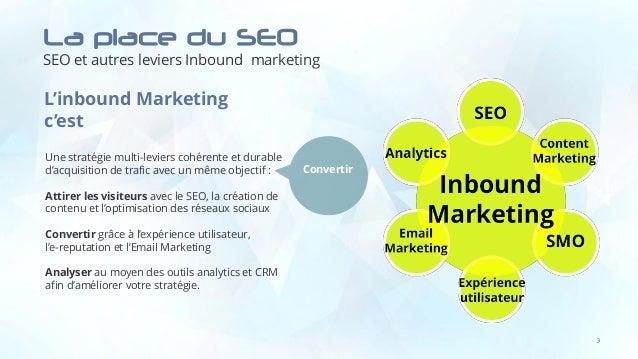 La place du SEO SEO et autres leviers Inbound marketing 3 L'inbound Marketing c'est Une stratégie multi-leviers cohérente ...