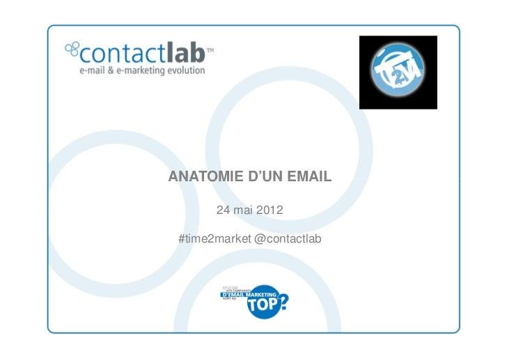 ANATOMIE D'UN EMAIL       24 mai 2012 #time2market @contactlab