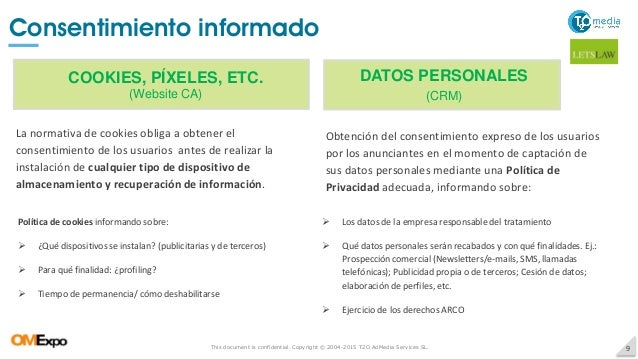 This document is confidential. Copyright © 2004-2015 T2O AdMedia Services SL. 9 Consentimiento informado COOKIES, PÍXELES,...