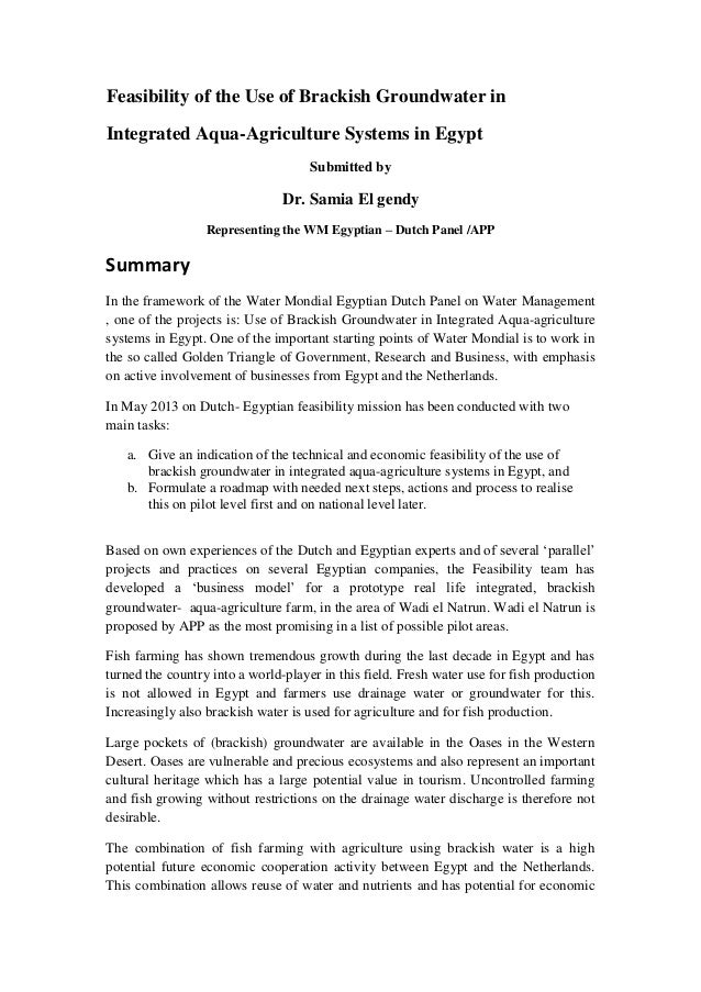 Feasibility of the Use of Brackish Groundwater in Integrated Aqua-Agriculture Systems in Egypt Submitted by  Dr. Samia El ...