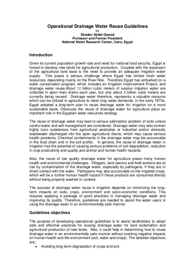 Operational Drainage Water Reuse Guidelines by Shaden Abdel-Gawad Professor and Former President National Water Research C...