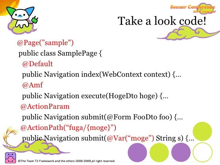 """Take a look code! <ul><li>@Page(""""sample&quot;) </li></ul><ul><li>public class SamplePage { </li></ul><ul><li>@Default </li..."""
