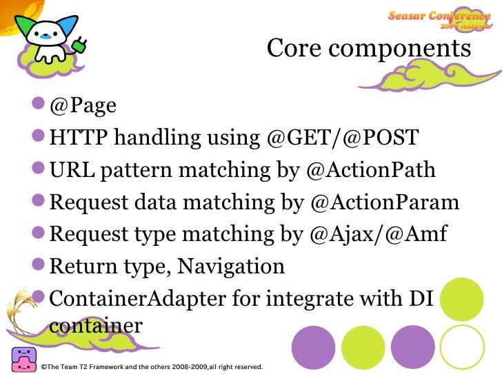Core components <ul><li>@Page </li></ul><ul><li>HTTP handling using @GET/@POST </li></ul><ul><li>URL pattern matching by @...