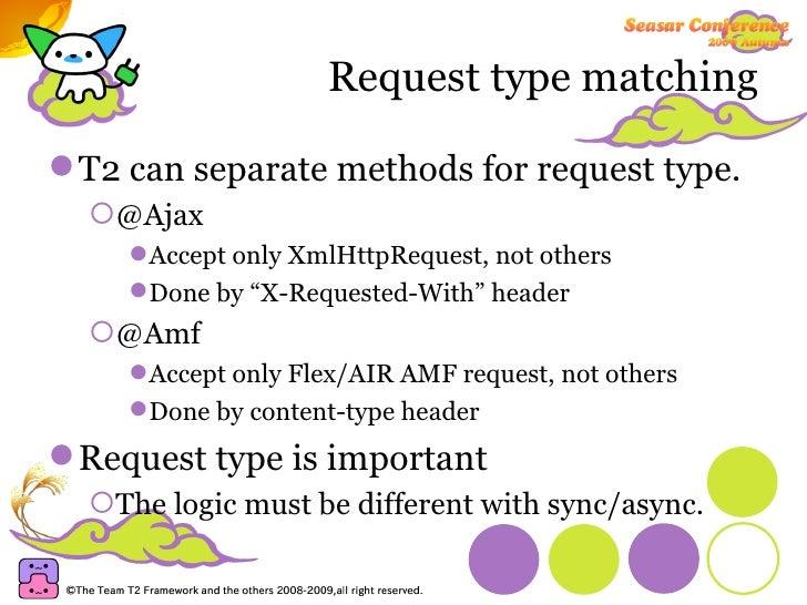 Request type matching <ul><li>T2 can separate methods for request type. </li></ul><ul><ul><li>@Ajax </li></ul></ul><ul><ul...