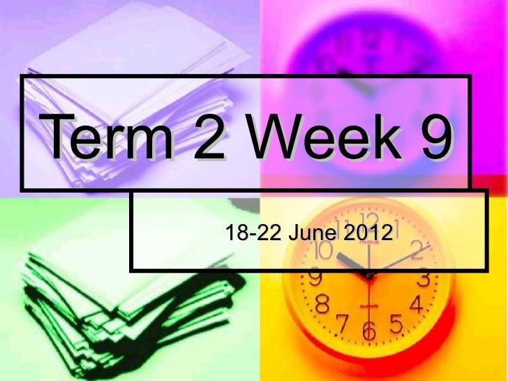 Term 2 Week 9     18-22 June 2012