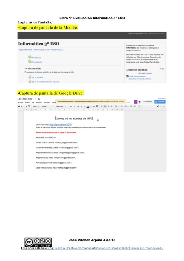 Libro 1º Evaluación Informatica 3º ESO Capturas de Pantalla. -Captura de pantalla de la Moodle. -Captura de pantalla de Go...