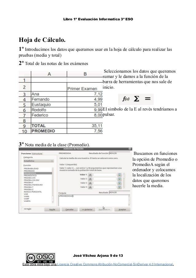 Libro 1º Evaluación Informatica 3º ESO Hoja de Cálculo. 1º Introducimos los datos que queramos usar en la hoja de cálculo ...