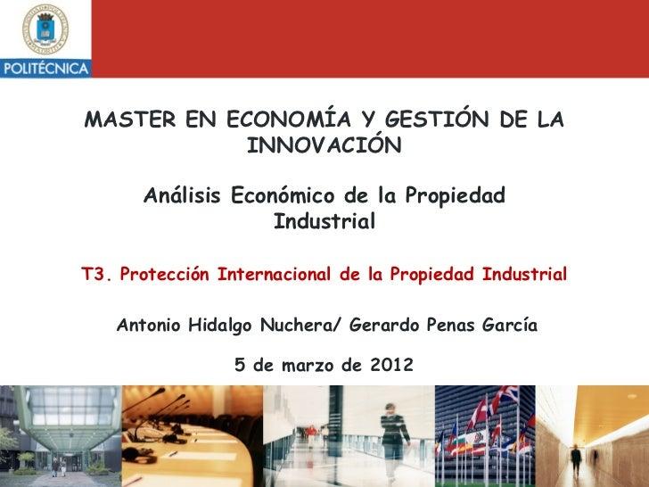 MASTER EN ECONOMÍA Y GESTIÓN DE LA            INNOVACIÓN      Análisis Económico de la Propiedad                   Industr...