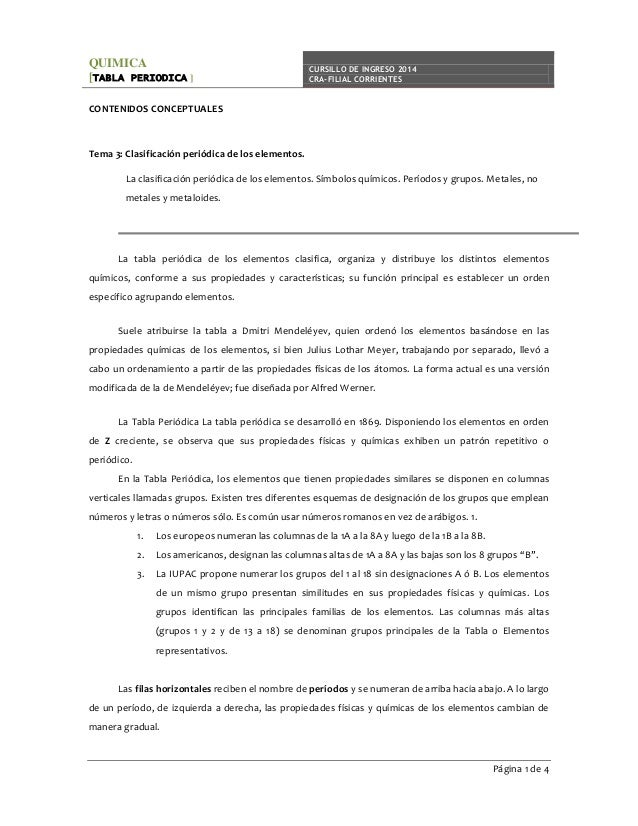 T3 tablaperiodica quimica tabla periodica cursillo de ingreso 2014 cra filial corrientes contenidos conceptuales tema urtaz Gallery