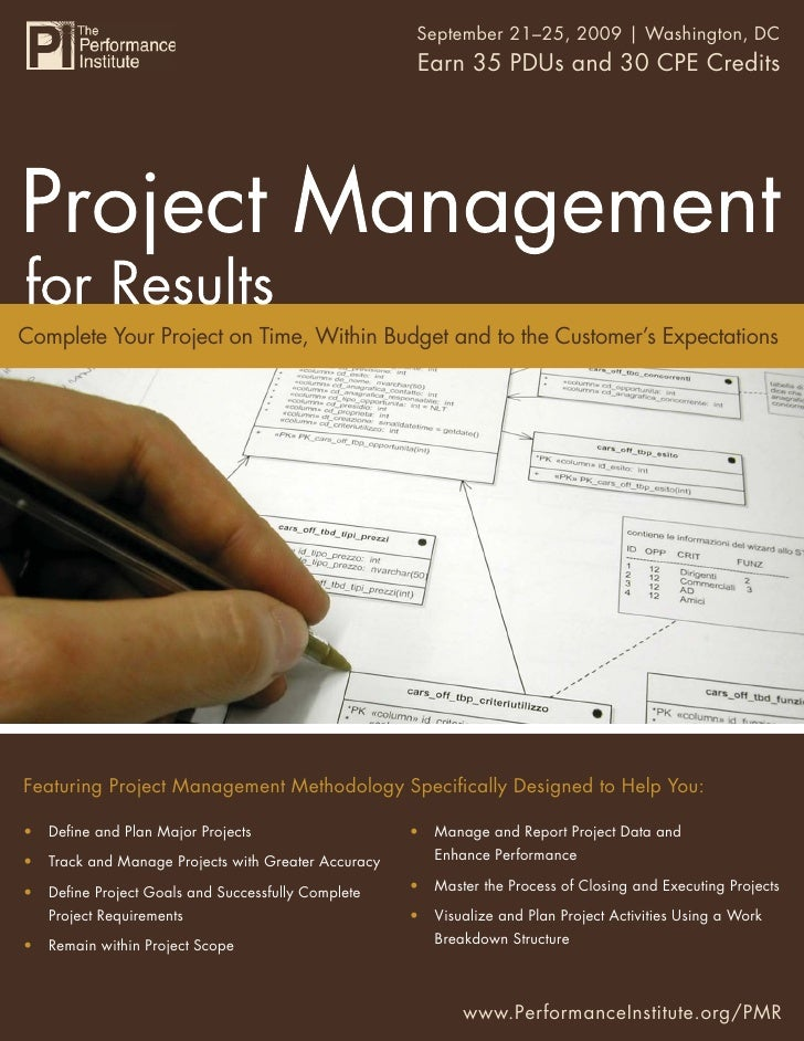 Project Management for Results 2009 | Washington, DC                                                    September 21–25,  ...