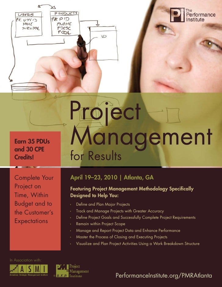 Project Management for Results       Earn 35 PDUs   and 30 CPE   Credits!     Complete Your             April 19–23, 2010 ...